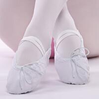 白色儿童舞蹈鞋女软底芭蕾舞鞋女形体练功鞋帆布猫爪鞋宝宝瑜伽鞋