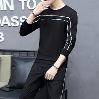 港风男士长袖t恤套装休闲外套学生韩版潮帅气套2018春装新款两件