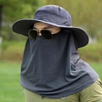 夏季防晒头套男女户外遮阳装备骑行蒙面钓鱼透气全脸面罩d 圆边帽 送袖套
