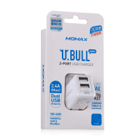 支持礼品卡 Momax 小白智能三星平板电脑 充电器 华为魅族小米HTC双多口USB  iphone6 plus ipad mini3 air2苹果手机充电器头 5v 2.4A快速 通用