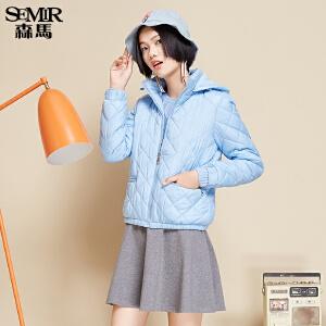 森马棉服 冬装 女士韩版格纹纯色可拆卸帽直筒棉衣外套潮
