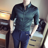 男士中袖光滑料七分袖衬衫春季新款韩版免烫绣花衬衣潮男长袖衬衫