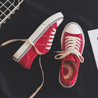 ins超火街拍草莓板鞋复古港风chic原宿鞋子女学生韩风红色帆布鞋
