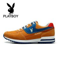 花花公子 男鞋男士休闲鞋运动跑步鞋反绒皮潮鞋透气板鞋子 德-CX37568
