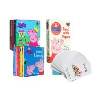 小猪佩奇 英文原版绘本书 Peppa Pig little Library 纸板书12册 字卡1盒