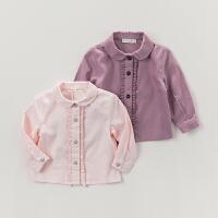 davebella戴维贝拉女童秋装长袖衬衫  新款女宝宝衬衫