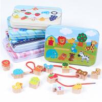 木制铁盒宝宝穿珠子早教益智串珠儿童1-2-3-6岁男孩女孩动手玩具