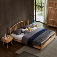 北欧风格实木床1.5米北欧现代简约橡木原木全实木卧室双人床1.8米 +22CM乳胶床垫+推拉衣柜 1800mm*2000
