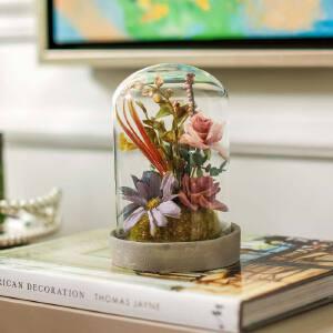 奇居良品 家居饰品仿真花摆件 洛克五色花朵玻璃罩带底座整体花艺