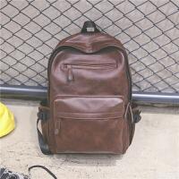 新款纯色复古双肩包女新款pu皮背包潮男包学院风休闲旅行电脑书包 棕色
