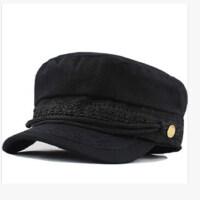女士复古海军帽保暖鸭舌帽子 韩版蕾丝帽子潮流皮檐平顶帽 黑色帽子