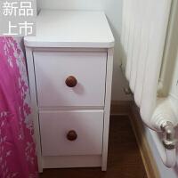 小床头柜迷你欧式25/30/35/40cm小户型带锁白色超窄小床头柜定制 整装