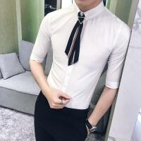 男士七分袖纯色衬衫韩版修身商务白衬衣青年发型师寸衣潮