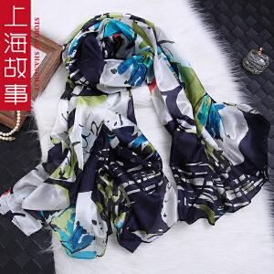 上海故事韩版超大加宽新款印花秋冬季桑蚕丝丝巾女款围巾披肩两用