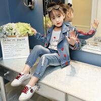 女童秋装套装韩版秋冬季洋气时髦小女孩牛仔儿童装两件套