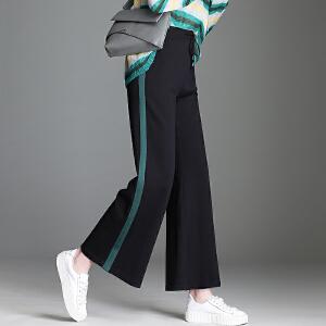 针织阔腿裤女秋2018韩版新款时尚条纹运动阔腿裤时尚休闲针织裤女