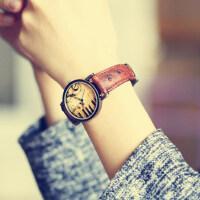 韩版女式款时装表潮流学生表 优雅复古表皮带女士手表 新款时尚怀旧石英表