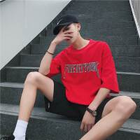韩版男士英文字母T恤男短袖夏季新款青少年刺绣休闲圆领T恤打底