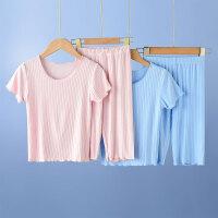 女童短袖睡衣夏季薄款宝宝儿童家居服套装两件套女孩夏装