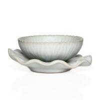 尚帝 月白花纹杯+杯垫 陶瓷茶杯 陶瓷杯垫 汝窑茶具 功夫茶杯瓷器  DPRY6HW9