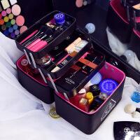 化妆包大容量多层多功能大号韩国便携洗漱品收纳盒化妆箱手提 黑色 内部三盒