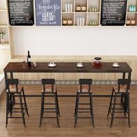 北欧复古实木吧台酒吧长条桌铁艺咖啡桌椅组合家用靠墙高脚小吧台