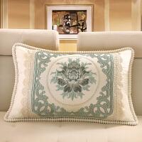 欧式抱枕靠垫客厅沙发枕头靠枕长方形大号床头腰靠抱枕套含芯拆洗 一支独放 灰蓝