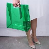 塑料袋PVC透明手拿包手提包购物袋女包雨衣包大号托特包 绿色