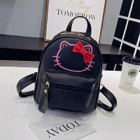 儿童旅游包女童双肩包韩版迷你休闲小背包可爱凯蒂猫咪时尚公主潮 KT猫-黑色 收藏送挂件