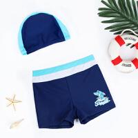 儿童泳裤平角中大童游泳宝宝分体游泳裤带帽