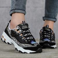 幸运叶子 斯凯奇女鞋新款低帮运动鞋厚底熊猫鞋舒适透气跑步鞋220034-BKCC