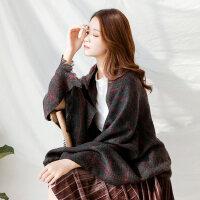 仿羊绒披肩两用围巾女韩版双面格子流苏长款加厚针织围巾