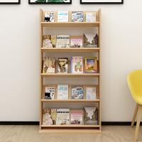 实木质书报落地置物架儿童绘本书架简易杂志报刊架资料宣传展示架