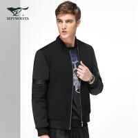 七匹狼夹克 青年男士时尚休闲简约棒球领夹克外套
