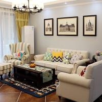 美式布艺沙发地中海乡村田园小户型客厅整装1+2+3组合家具
