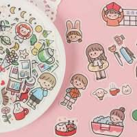 日系人物手账装饰小图案小贴画卡通和纸手账包ins少女心素材生活