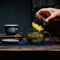陶瓷玻璃泡茶杯耐热手绘过滤内胆绿茶杯子茶水分离办公带盖玻璃杯