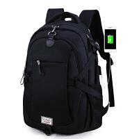 背包男双肩包男士商务休闲旅行高中大学生书包时尚潮流户外旅游 充电黑色