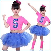 儿童啦啦操演出服蓬蓬裙舞蹈演出服爵士亮片公主舞足球服