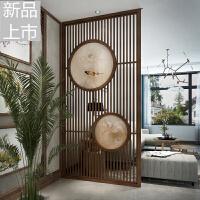 新中式屏风隔断装饰墙客厅实木简约现代木条玄关背景定制镂空圆形定制 整装