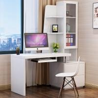 现代简约台式电脑桌办公桌 卧室家用简约书桌书柜书架一体组合 书桌1.6m(左边柜)带送货安装