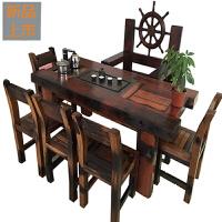 老船木茶桌椅组合小型客厅茶几实木功夫阳台客厅户外茶台船木家具定制 整装