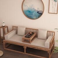 新中式罗汉床实木简约古典老榆木免漆实木禅意沙发床茶室家具定制