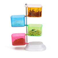 普润 彩色四层360度旋转式组合调味盒四件套味精玻璃油壶盐罐创意厨房用品调味盒