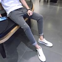 九分牛仔裤男修身小脚春季新款青少年弹力韩版学生9分裤子男生潮