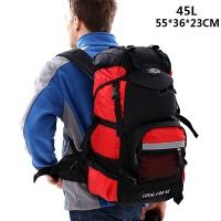 新款休闲双肩包日韩男女户外旅行背包45L60L多功能超大容量登山包 红色 (45升)