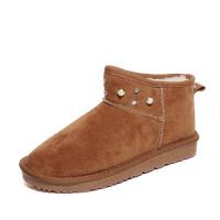 雪地靴女靴短筒平底水钻女短靴子圆头厚底百搭面包鞋