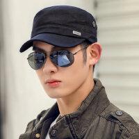 韩版棉质平顶帽男军帽太阳帽遮阳帽棒球帽男帽子男鸭舌帽