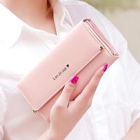 长款钱包女手拿包2018新款韩版简约时尚甜美多功能大容量皮夹钱夹