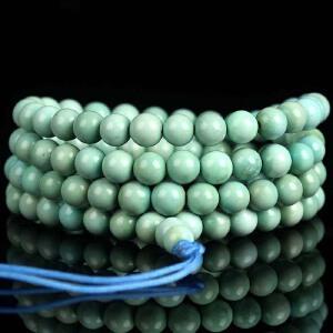 原矿高瓷蓝绿松石108佛珠手串  直径6mm25.41g